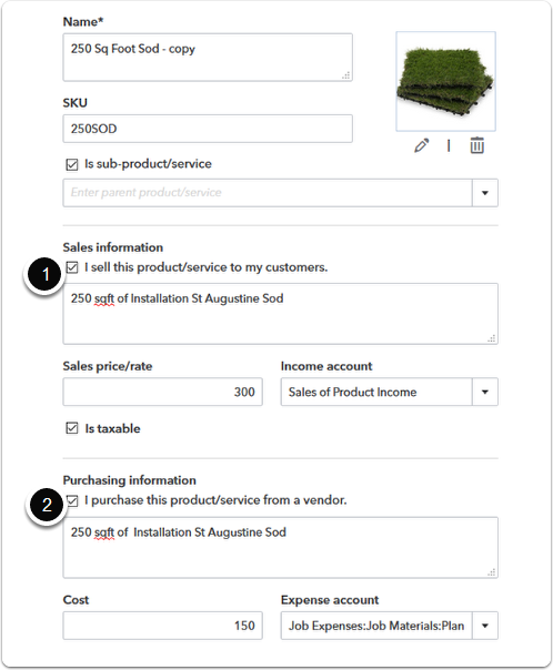 The original item setup including the sales information and the purchase information