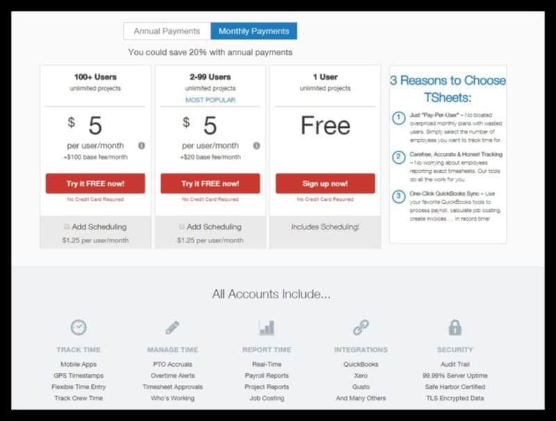 TSheets Pricing