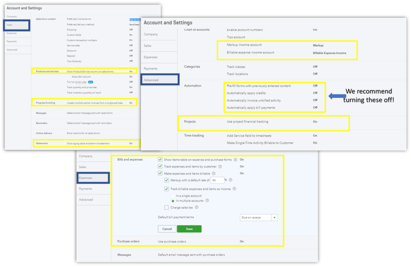 Using Projects with QuickBooks Online